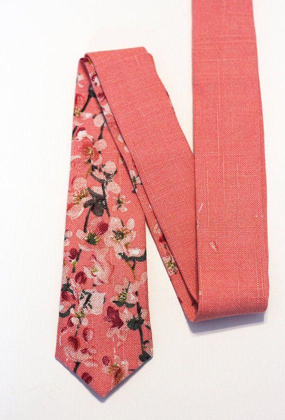 c024a7de7820 Floral Neck Tie Dusty Pink Linen - Linen Tie - Floral Tie - Dusty ...