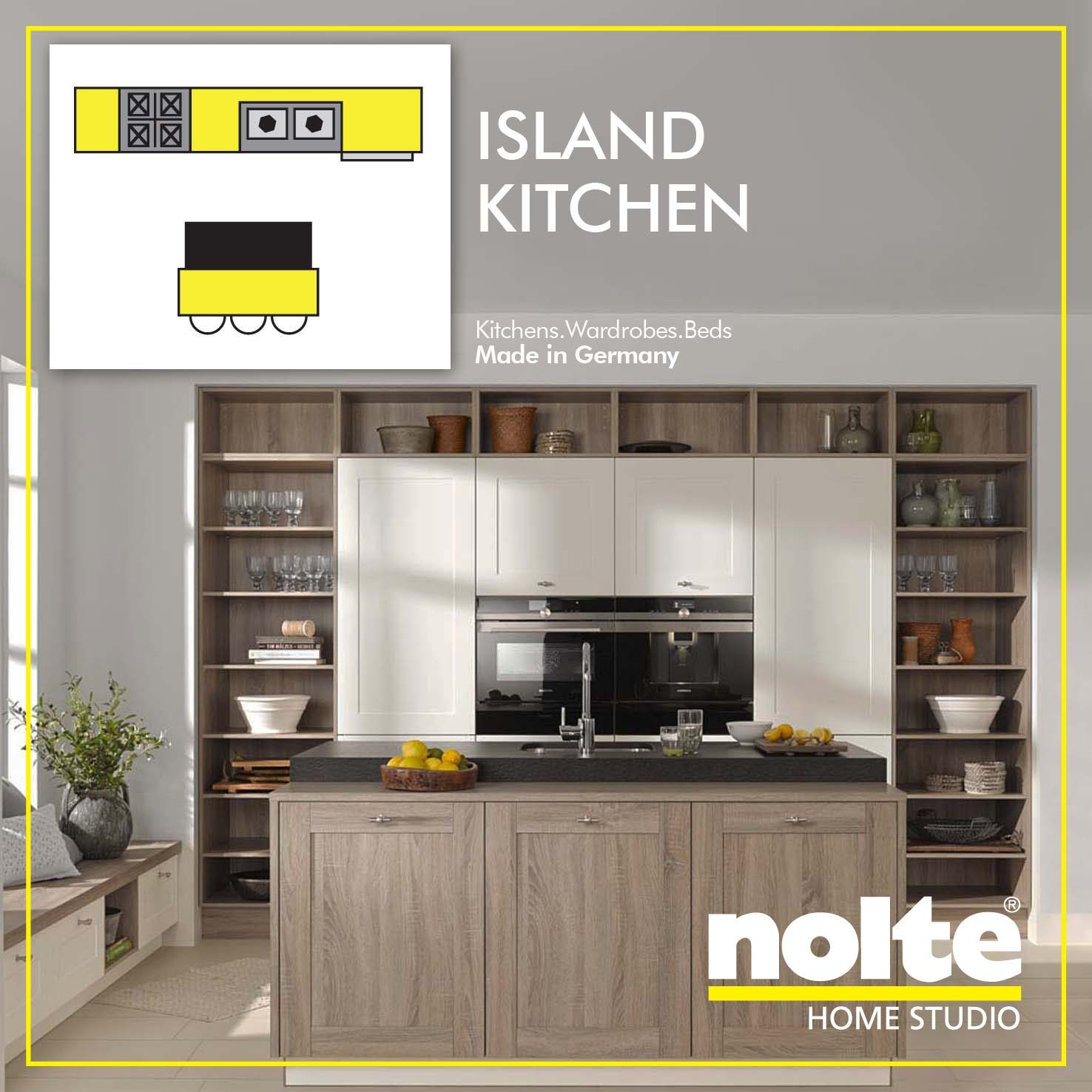 The Island kitchen is suitable for a large-sized floor space.  The Island serves as an additional storage space as well as a room for casual dining. Visit: www.noltehomestudio.in/kitchens #ModularKitchens #Kitchens #Nolte #NolteHomeStudio #IslandKitchen #Island #KitchenIsland