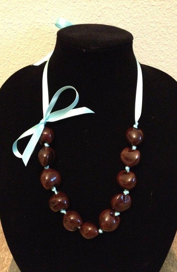 Handmade Kukui Nut Ribbon Necklace by FadedBead on Etsy, $20.00