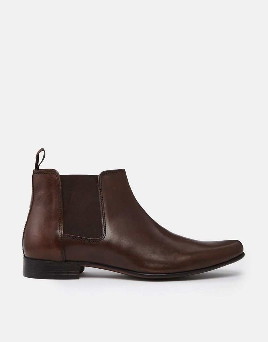 Chelsea Boots in Brown Leather With Back Pull - Brown leather Asos gdzrv0z