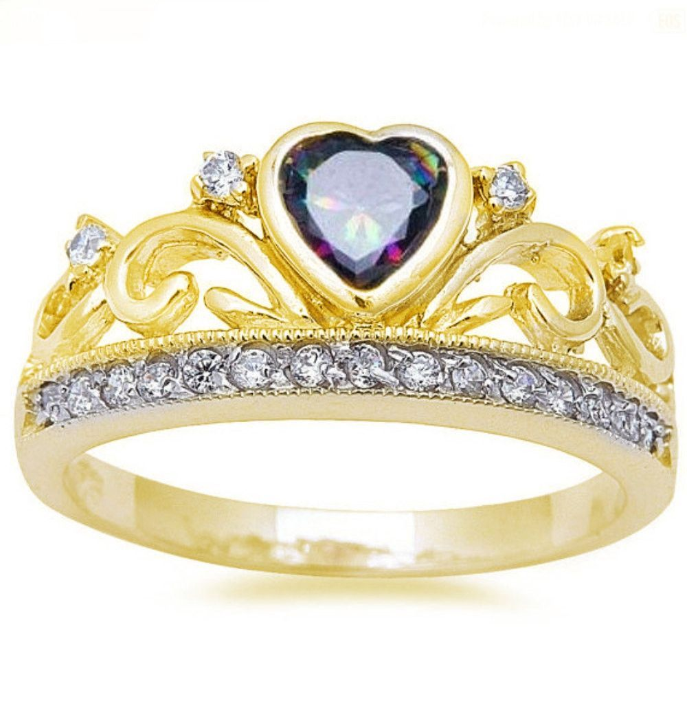 heart crown ring yellow gold solid 925 sterling silver heart shape