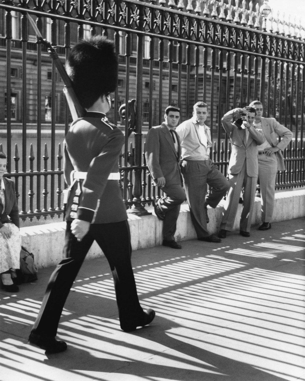 The Changing of the Guard, outside Buckingham Palace, 1954.