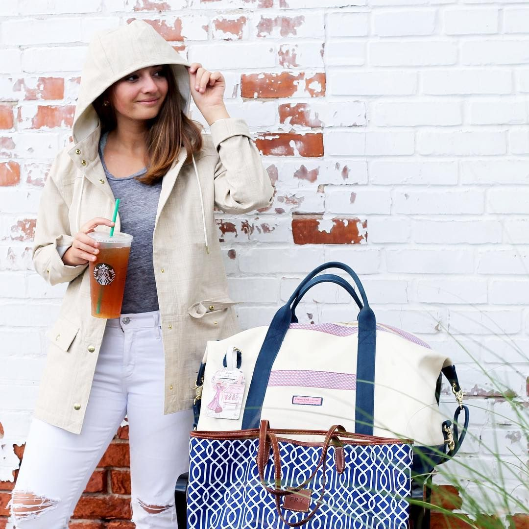 @vineyardvines rain jacket for a rainy travel day in New England