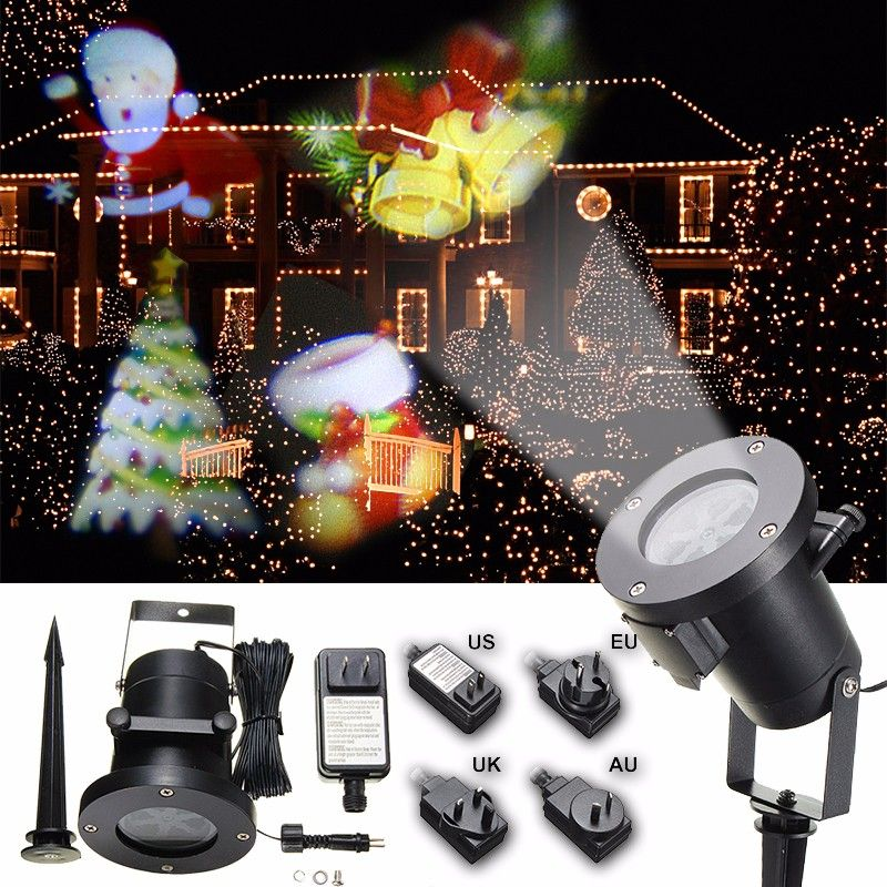 Waterproof Colorful Santa Claus Pattern LED Christmas Moving Laser