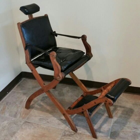 Koken fold up wooden barber chair, leather arms replaced since photo taken,  at GRAND - Koken President Barber Chair Past Great Finds At The Surplus