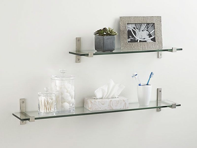 Glass Floating Shelves Interesting Glass Floating Shelves Open Up Space Crate Barrel In 60 Sizes