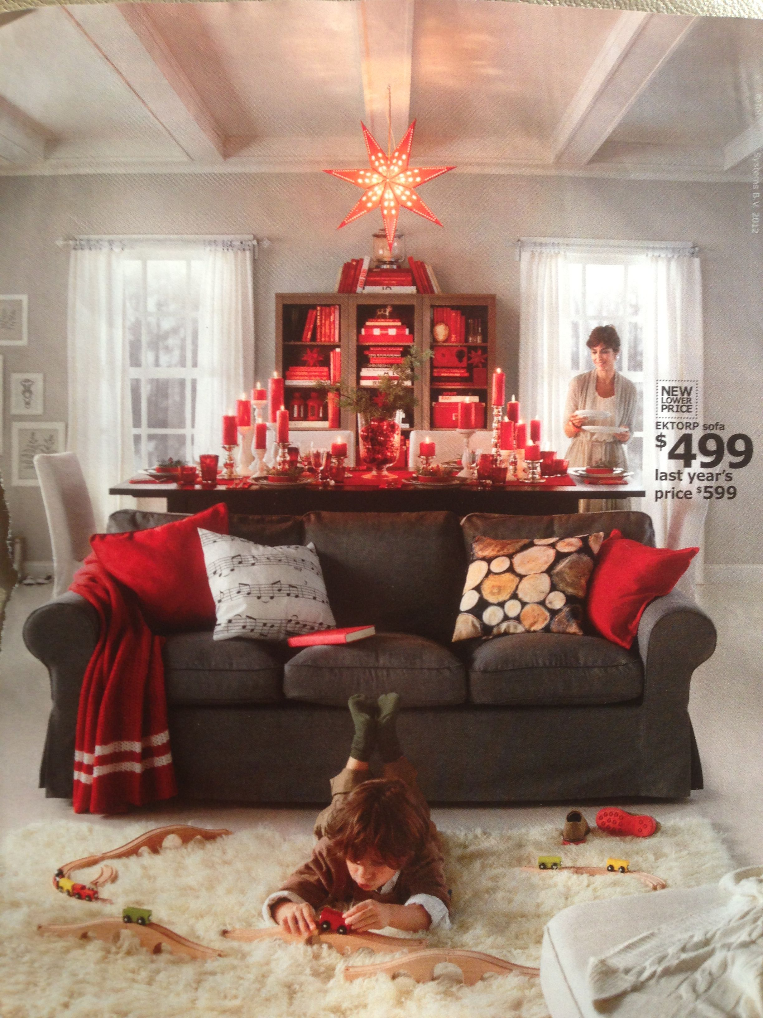 Christmas decorating IKEA | Living room red, Black living ...