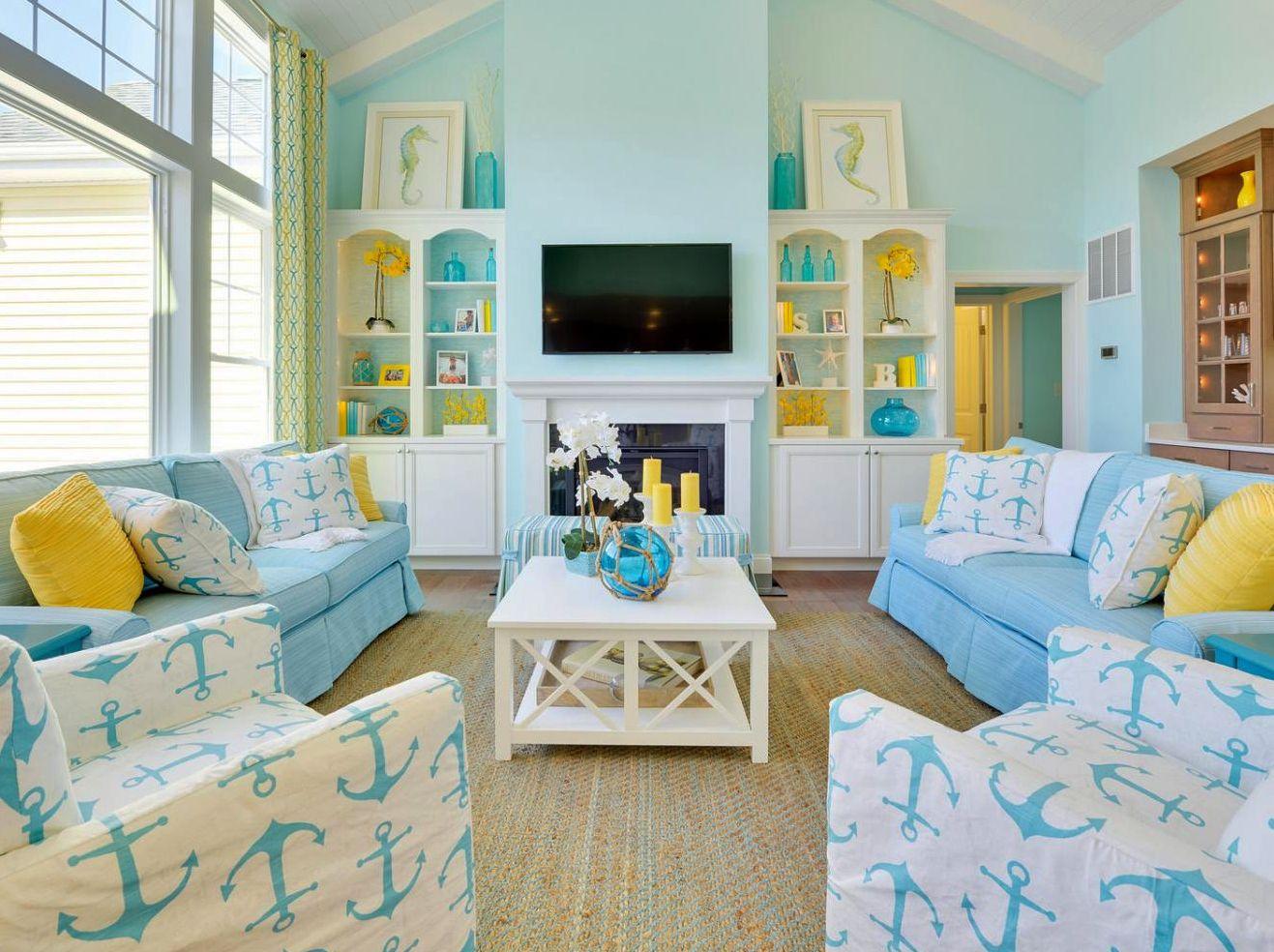 26 Coastal Rooms In Bold Colors Coastal Living Rooms Coastal Living Room Coastal Room