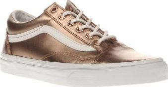 fd73600499 Vans Rose Gold Old Skool Womens Trainers Take the Metallic trend to the  skate park this season and turn heads while you hit the half pipe.