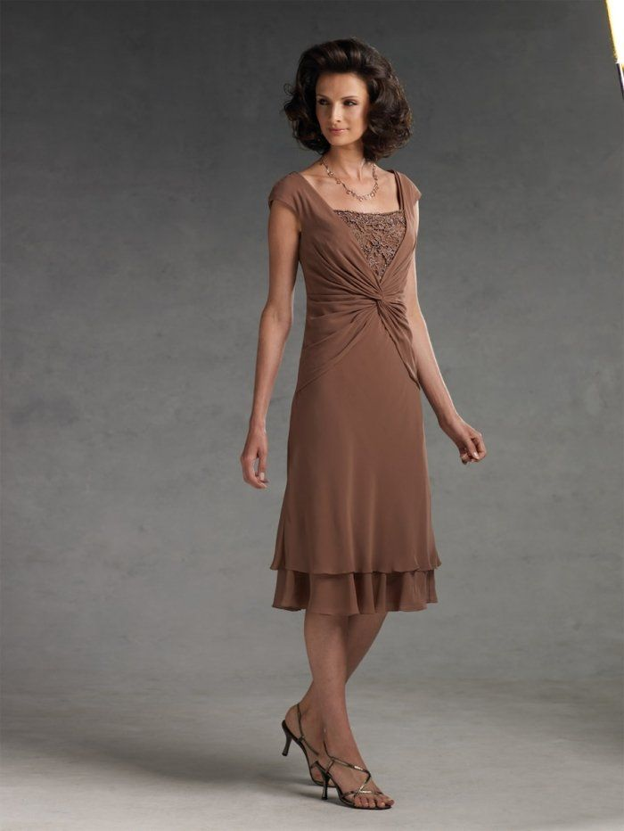 Vintage dm016 tea length a line chiffon brown mother of for Brown dresses for a wedding