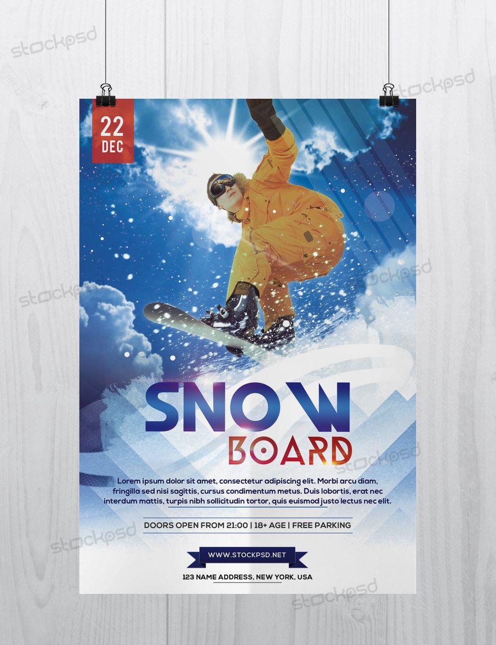 SnowBoards Sport  Freebie Psd Flyer Template  Psd Flyers