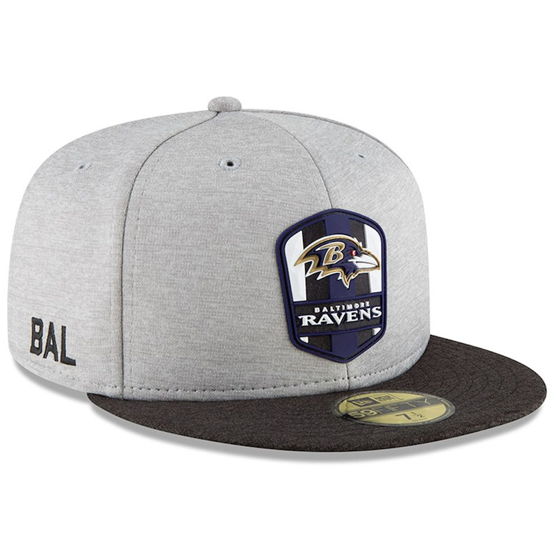 Baltimore Ravens New Era 2018 NFL Sideline Road Official 59FIFTY Fitted Hat  – Heather Gray Black 3f78485fa