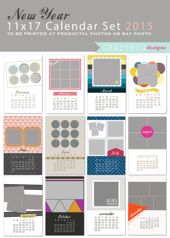 Calendar Set X Photo Calendar Template Calendar Template