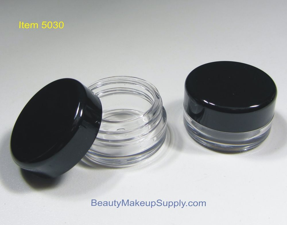 d5816ddba882 500 Wholesale Small Cosmetic Jars Round Containers 3 Gram 3 ml Black ...