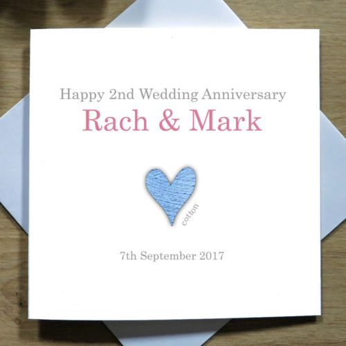 Personalised Handmade 2nd Wedding Anniversary Card For Them Cotton Heart Ebay Wedding Anniversary Cards 2nd Wedding Anniversary 15th Wedding Anniversary