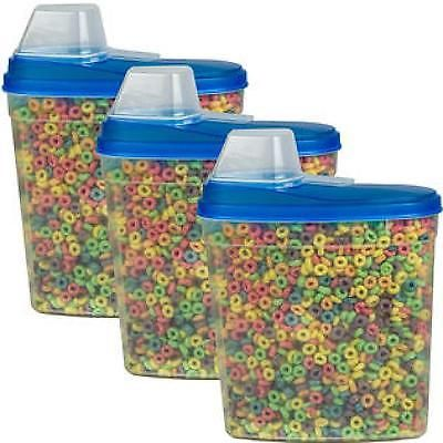 Cereal Keeper Storage Container Food Holder Plastic 3 Pack Large