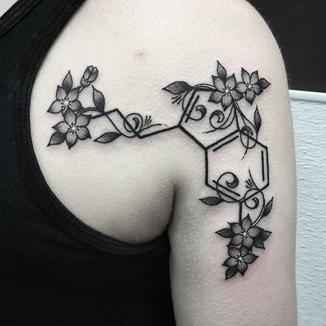 Tattoo Ideas About Depression: Serotonin Flower; Placement Is Perfect (left)