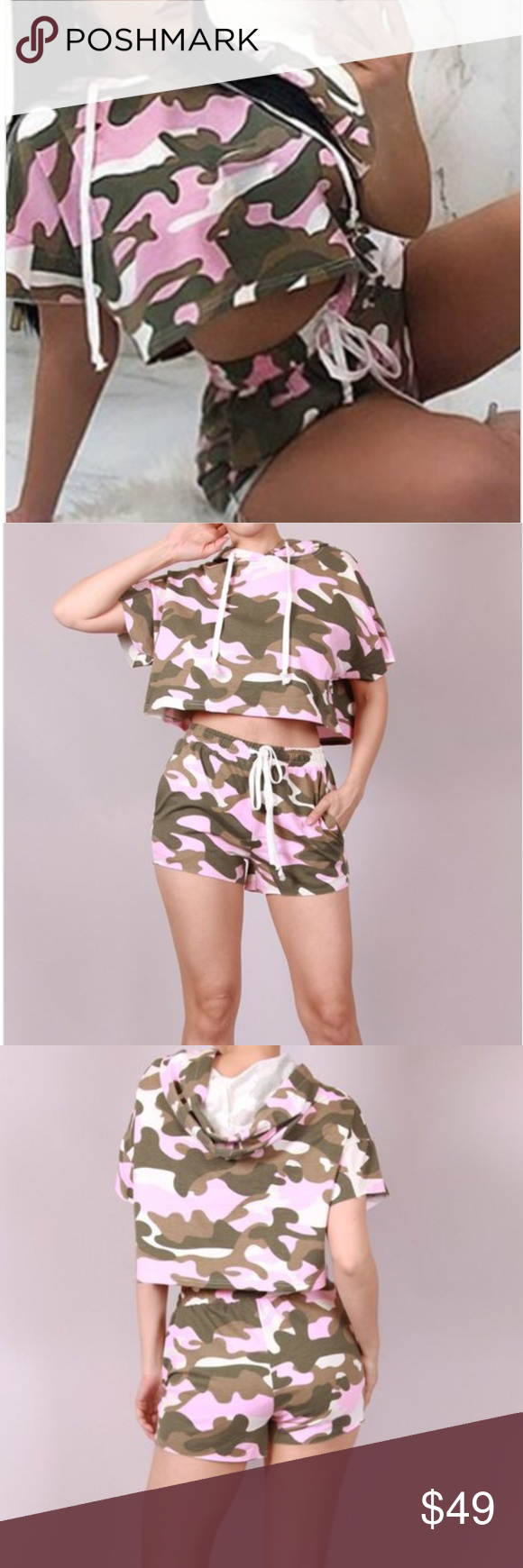 3fb56635374b6 2 piece set Pink camo crop/shorts. 2 piece sets pink Camo crop top & shorts  . How cute is this !! High rise Shorts has functional pockets and raw hem.