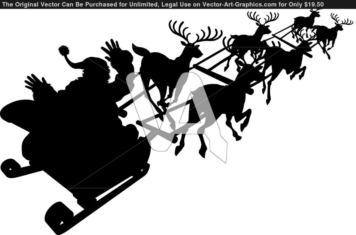 Christmas silhouettes | Santa In His Christmas Sled Or Sleigh In ...