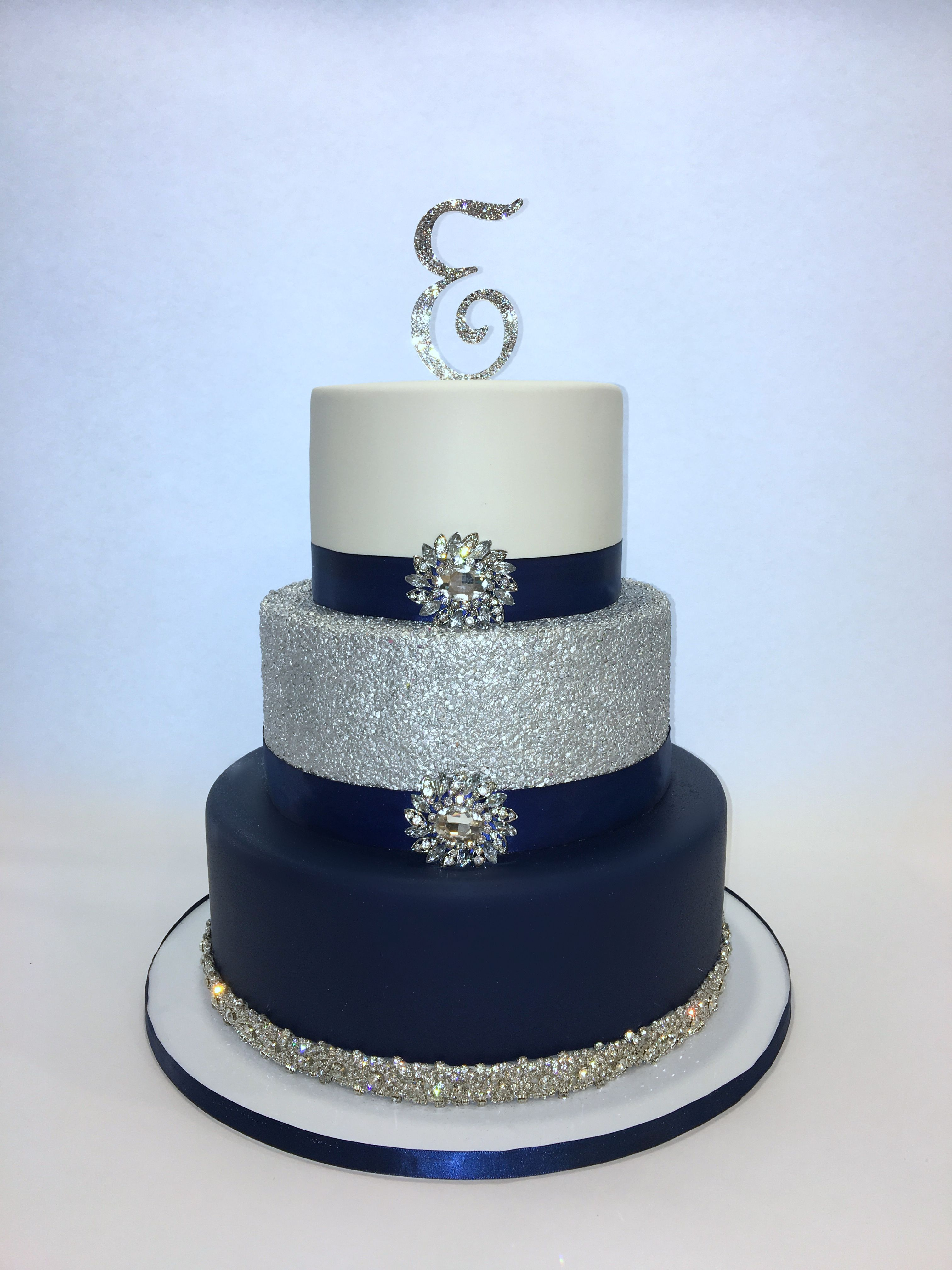Navy Blue Silver And White 3 Tier Sweet 16 Cake