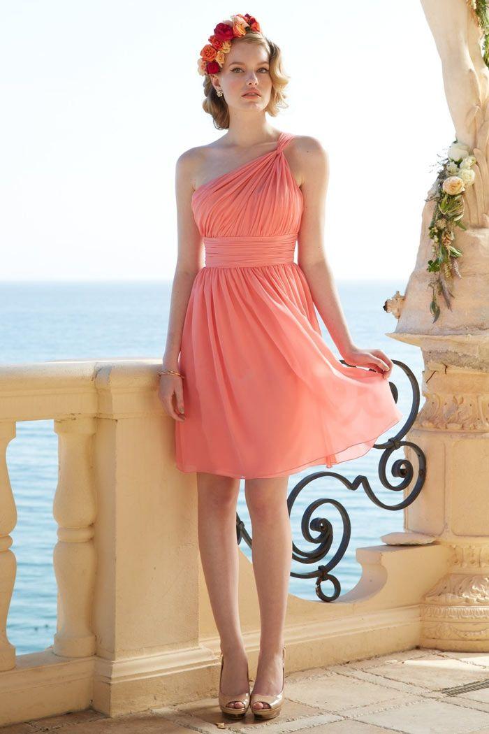 4dc50693740 Petite robe corail pour cocktail mariage bustier asymétrique plissée ...