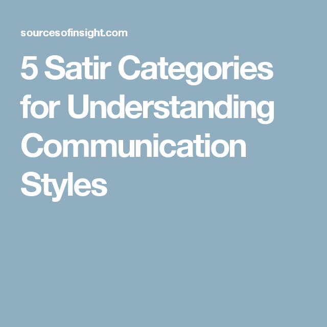 5 Satir Categories for Understanding Communication Styles | Social work theories. Communication styles. Family therapy