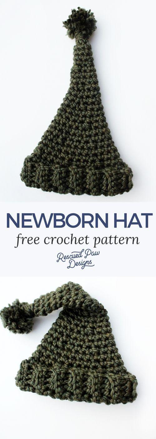 Free Newborn Crochet Beanie Hat Pattern | kid crochet | Pinterest ...