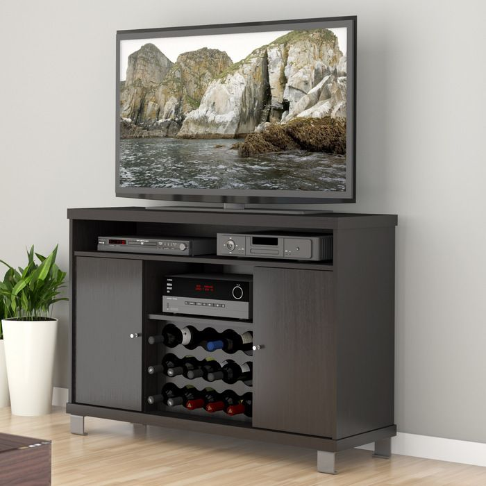 Black Tv Stand With Wine Rack Home Design Pinterest