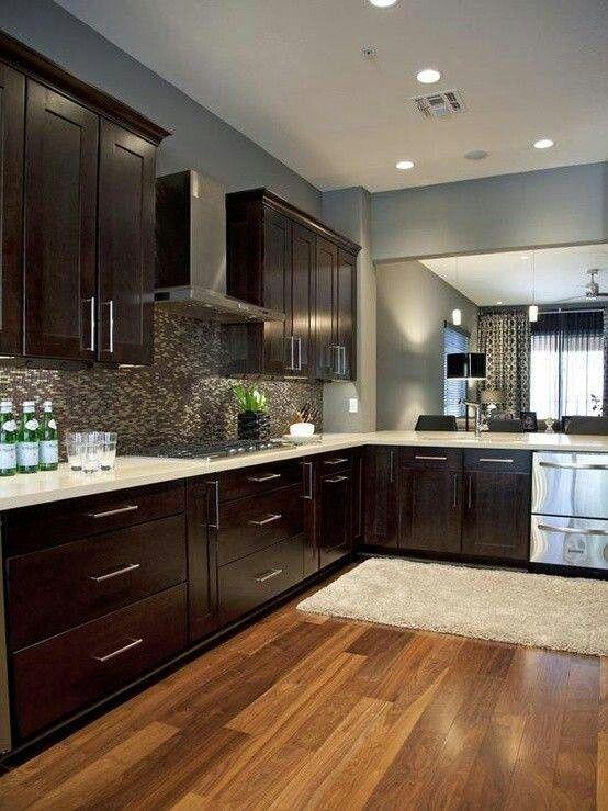 Kitchen Grey Walls Dark Wood Cabinets Light Counter Tops