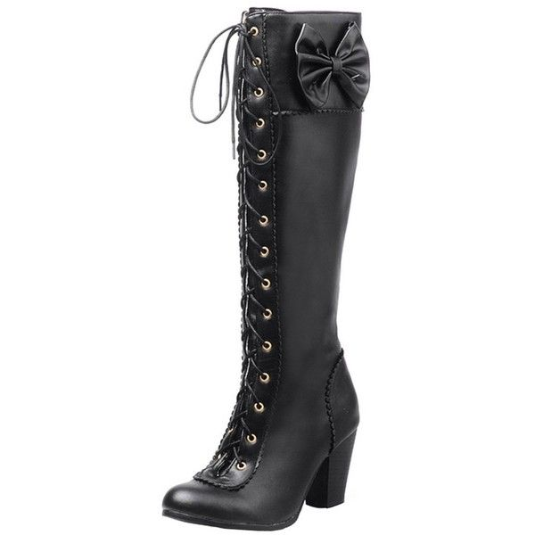 AIYOUMEI Womens Patent Leather Lace Up Platform Stilettos Autumn Winter Over The Knee Boots