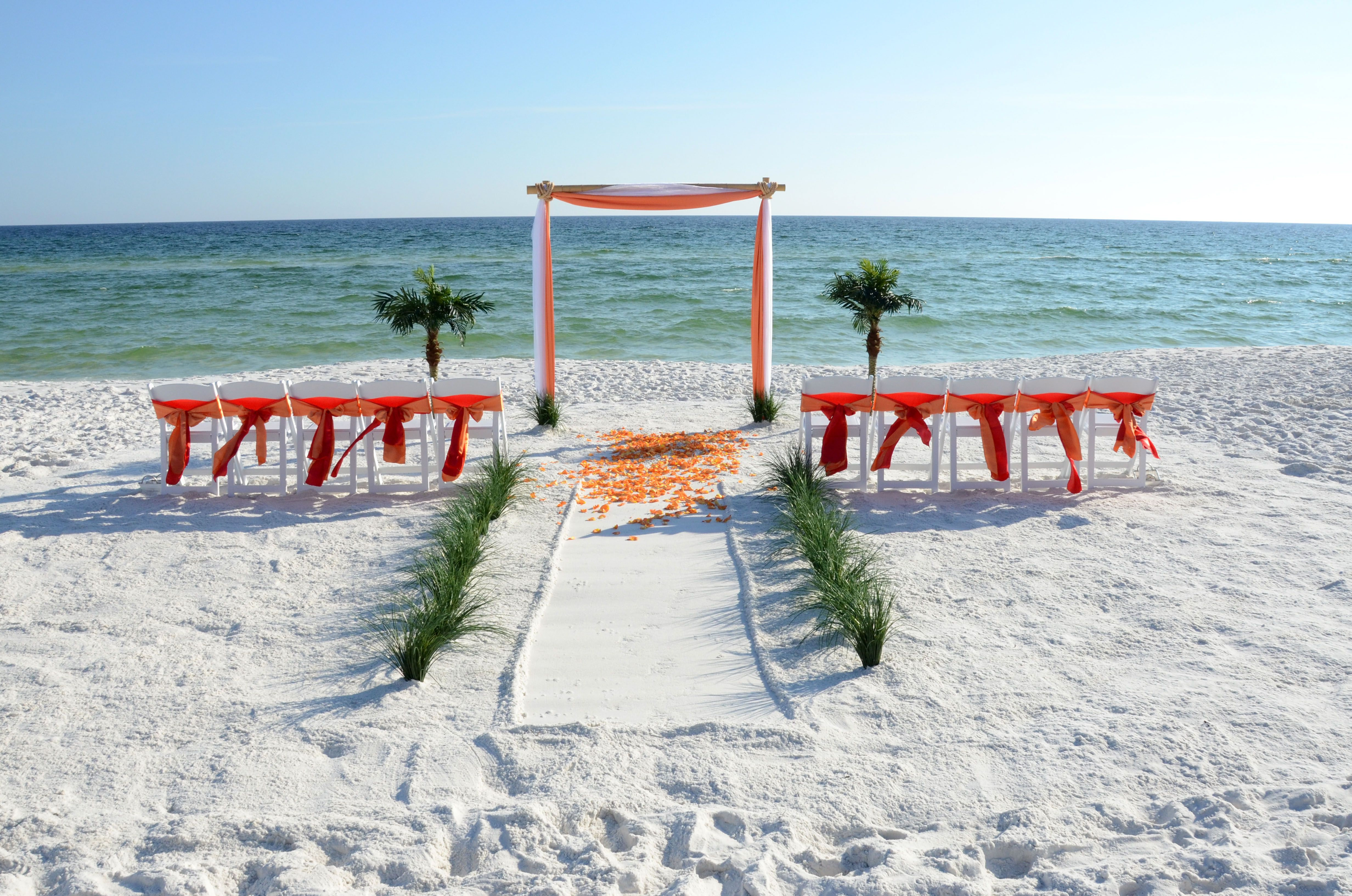 2 post Bamboo Arbor in orange and red. Photo and setup by