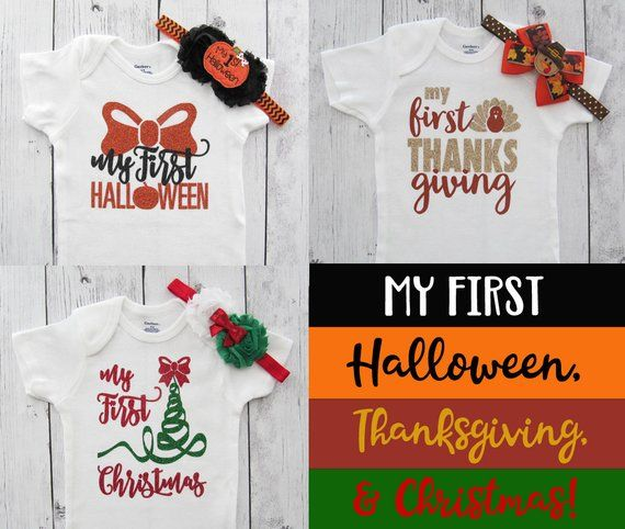 c15f90558c735 Baby's First Holiday Gift Set - first halloween, first thanksgiving, first  christmas, baby girl, bab