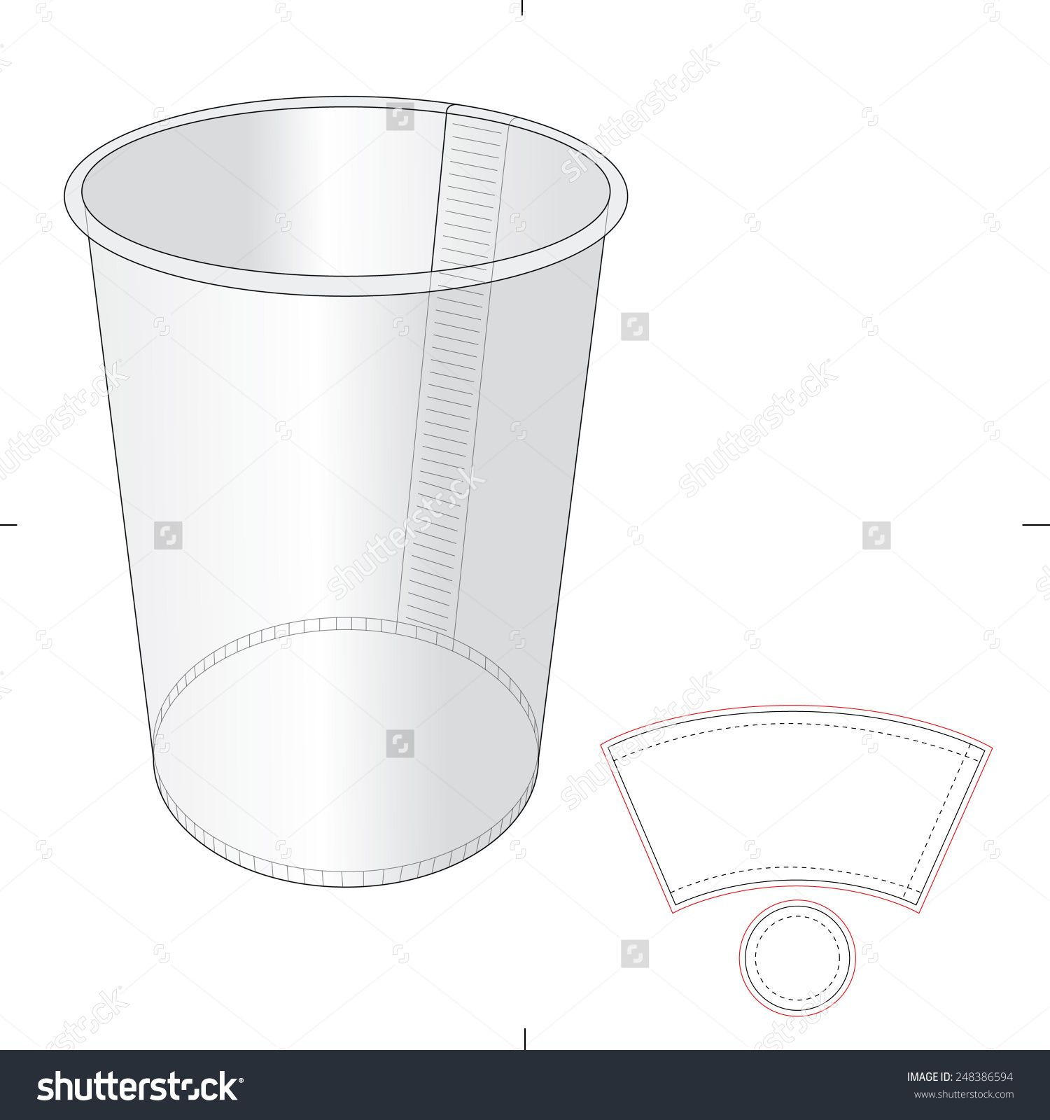 paper cup with die cut template stock vector illustration 248386594