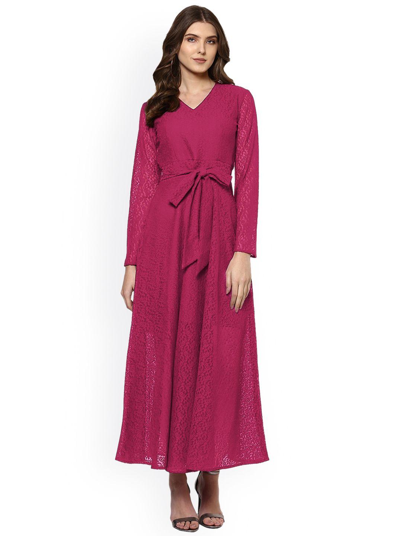 Buy woowzerz women magenta self design maxi dress dresses for