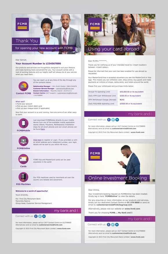 First City Monument Bank (FCMB) email campaigns - template designs - marketing email template