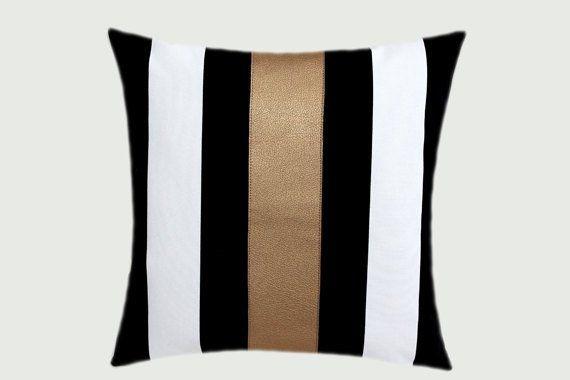 Decorative Pillows Cotton Black White Throw Pillow Case With Gold