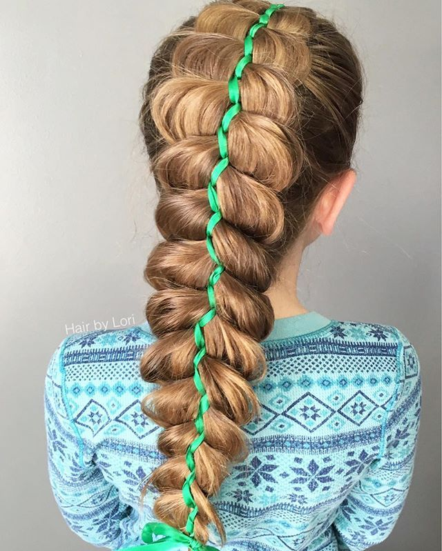 Lori Bryant On Instagram 5 Strand Dutch Ribbon Braid On Hope Yesterday For St Patrick S Day I Have A Tu Dutch Ribbon Braid Ribbon Braids Best Braid Styles