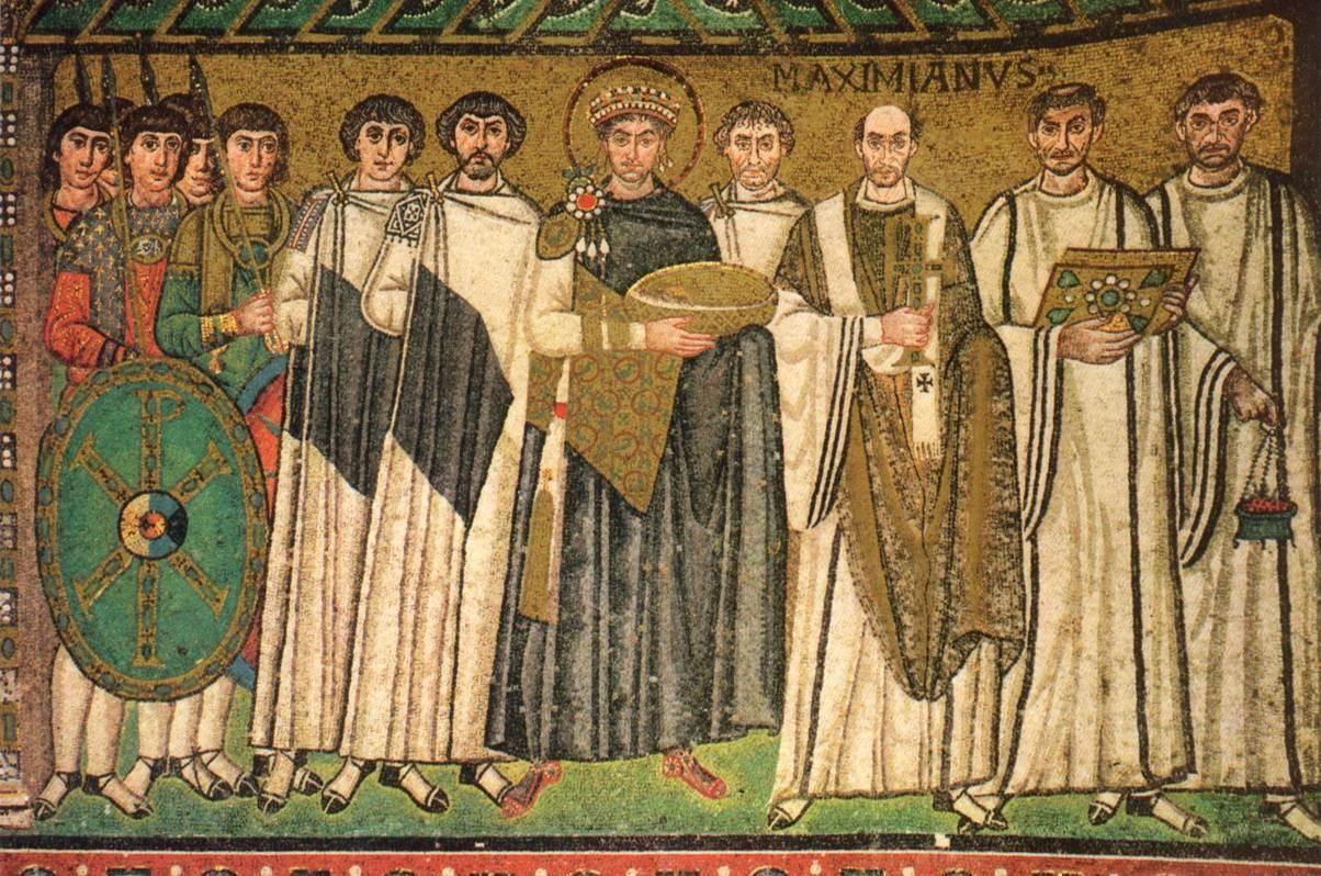 Justinian And His Attendants Mosaic San Vitale Ravenna
