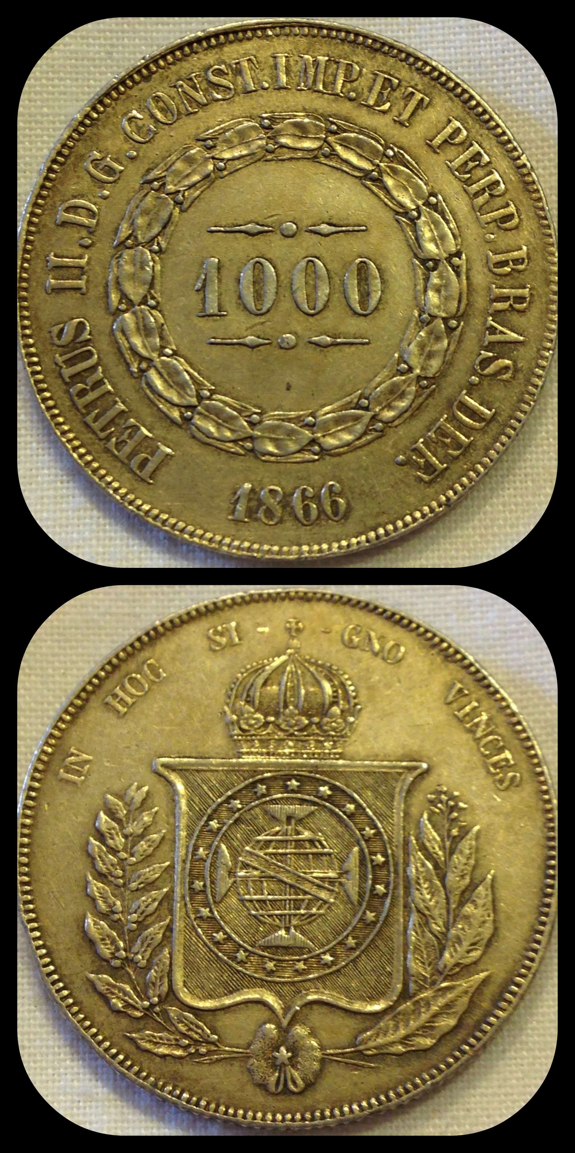 Brazil 1000 Reis 1866 Condition Xf For This And More Coins From