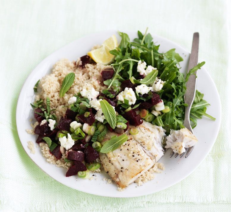 Grilled fish with feta and beetroot salsa healthy food guide food forumfinder Gallery