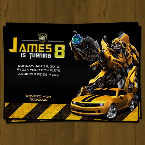 Transformers Birthday Invitation Bumblebee By Splashboxprintables