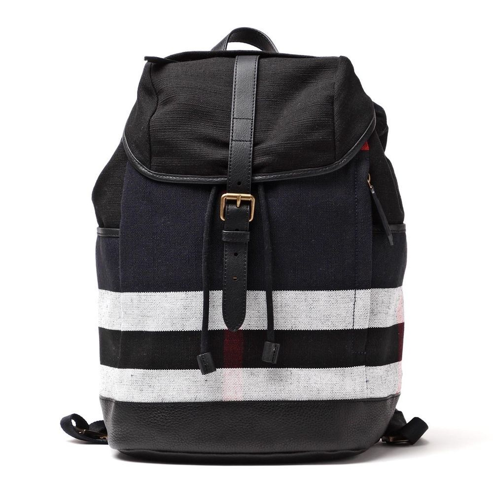 b44ef418600 BURBERRY Men s Drifton Black Blue Canvas Leather Trim Plaid Check Large  Backpack  Burberry  Backpack