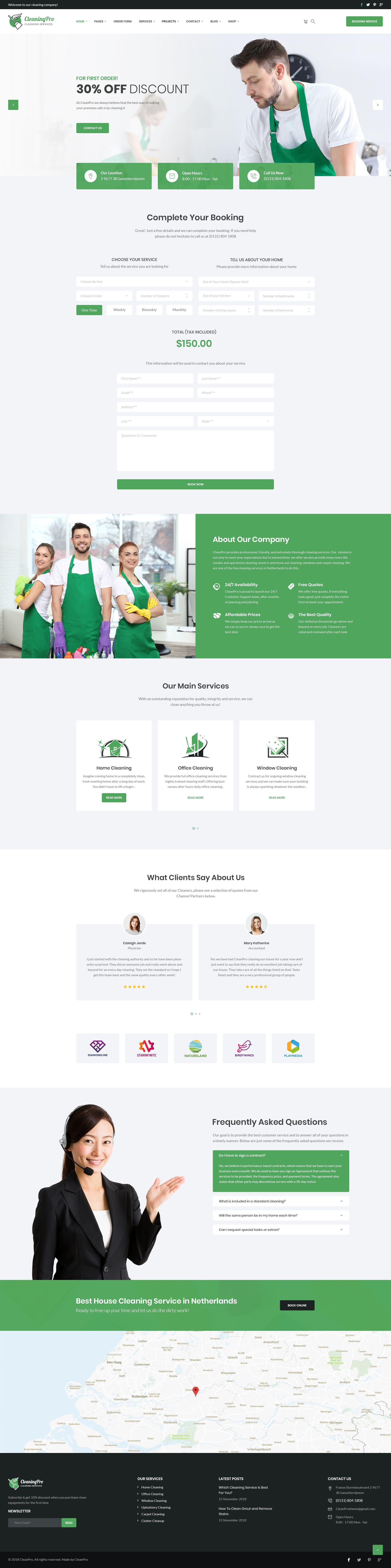 Cleanpro Cleaning Service Psd Template By Carrotlabs Themeforest Web Design Webdesign Design