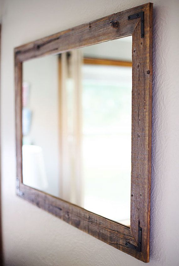 rustic wall mirrors oversized 42x30 reclaimed wood mirror large wall rustic modern home decor housewares woodwork frame mirror framed bathroom