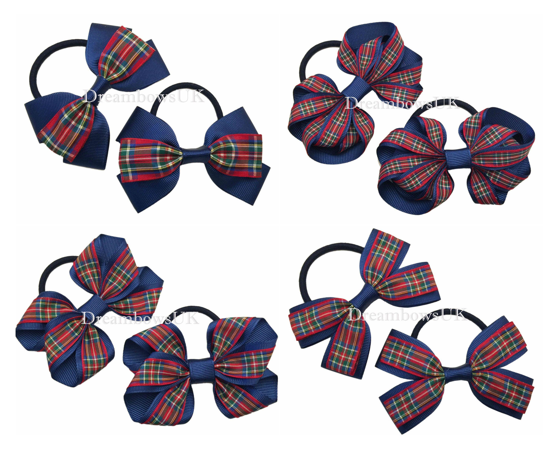 Ideal For School Handmade NAVY BLUE Hairbows On Elastics// Bobbles 10cm Bow