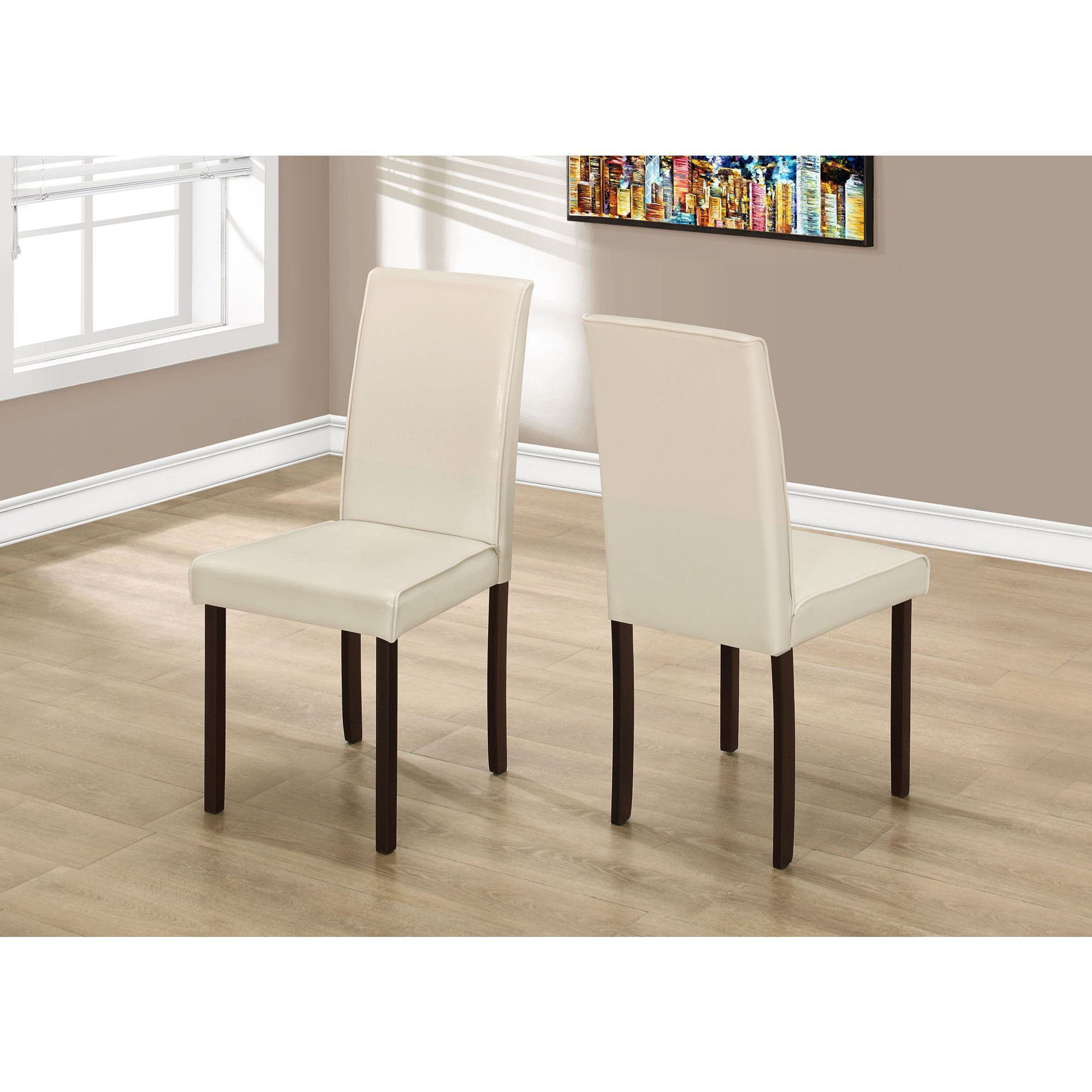 Monarch Ivory Leatherlook 36Inch Dining Chair Set Of 2 Ivory Endearing Ivory Leather Dining Room Chairs Decorating Inspiration