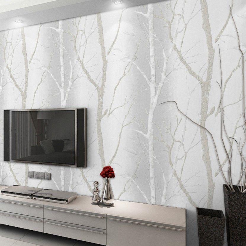 Designer Home Room Modern Wallpaper For Walls Roll Birch Tree Mural Tv Background Black White W Birch Tree Wallpaper White Wood Wallpaper Tree Branch Wallpaper