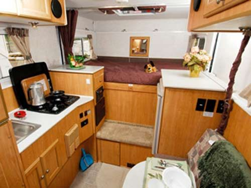 truck campers   Oregon expandable truck camper interior showing kitchen   seating and. truck campers   Oregon expandable truck camper interior showing