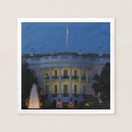 Christmas White House at Night in Washington DC Napkins ...