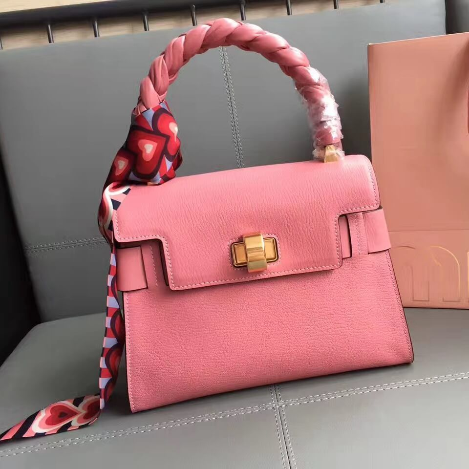 1b82de7723b7 Miu Miu Madras Goat Leather Top Handle Bag With With Braid Handle 5BA046  Pink 2017